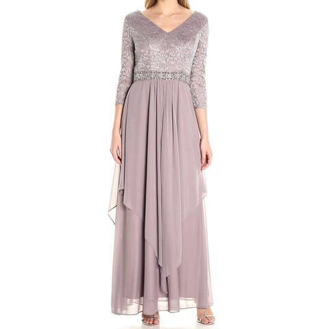 e296371a99 Alex Evenings Purple Womens Size 10 V-Neck Lace Overlay Skirt Gown