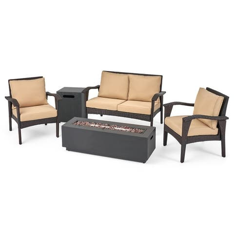 Kahala Outdoor 4 Seater Wicker Chat Set with Fire Pit by Christopher Knight Home
