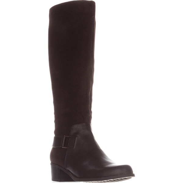 Aerosoles After Hours Riding Boots, Dark Brown Combo