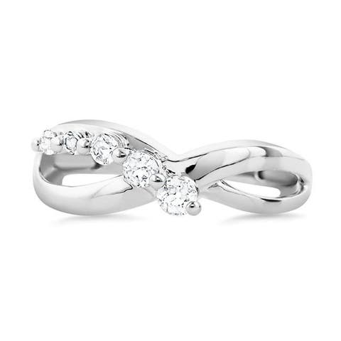 925 Sterling Silver 1/3 Carat White Sapphire Infinity Ring for Women (Size : 5)
