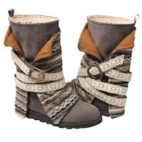 Muk Luks Womens Nikki Blanket Boot - Mid-Calf -Taupe or Gray with Removable Wrap