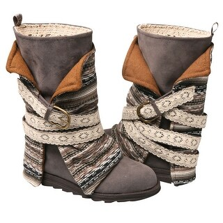 Women's Muk Luks Mid Calf Boots - Blanket Style with Wrapped Straps