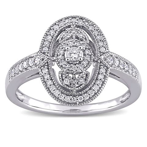 1/4ct TDW Diamond Floral Halo Engagement Ring in Sterling Silver by Miadora