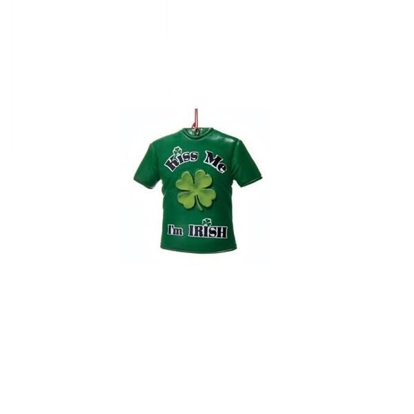 "3.25"" Luck of the Irish ""Kiss Me I'm Irish"" Decorative T-Shirt Christmas Ornament"