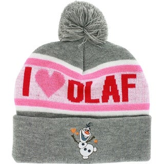 Disney Frozen I Love Olaf Heather Gray Cuffed Knit Hat