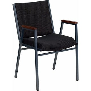 Offex HERCULES Series Heavy Duty Black Dot Fabric Stack Chair with Arms [OF-XU-60154-BK-GG]