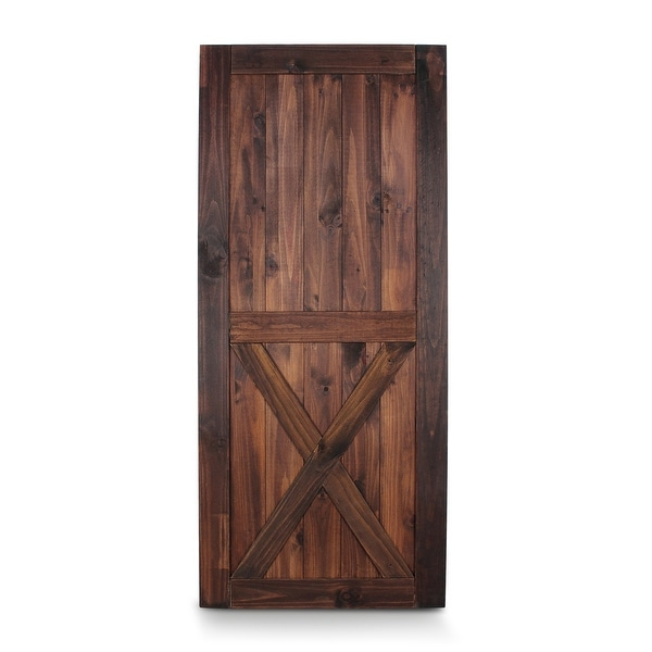 "BELLEZE 36"" x 84"" Classic Lower X Sliding Barn Door Unfinished Solid Pine Wood DIY Single Door Pre Drill, Espresso"