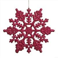 4 in. Club Purple Glitter Snowflake Christmas Ornaments, Pack -
