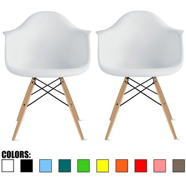 2xhome Set of 2 White Modern Plastic Chair Armchair With Arms Natural Wood Legs Accent Dining Molded Shell Kitchen Desk