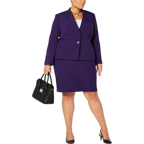 Le Suit Womens Plus Skirt Suit Wing Collar Wear To Work - Plum - 20W