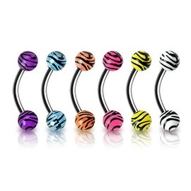 """Surgical Steel Eyebrow Curve with 4mm Tiger Print UV Balls - 16GA 5/16"""" Long (4mm Ball) (Sold Ind.)"""