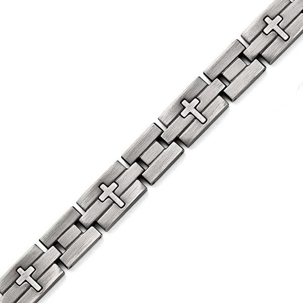 Chisel Stainless Steel Brushed and Antiqued Cross Bracelet