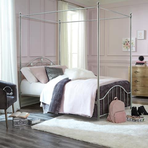 Hillsdale Furniture Vivian Metal Canopy Bed, Silver