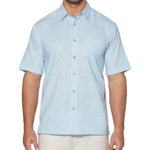 Cubavera Blue Mens Size Large L Button Down Short Sleeve Shirt