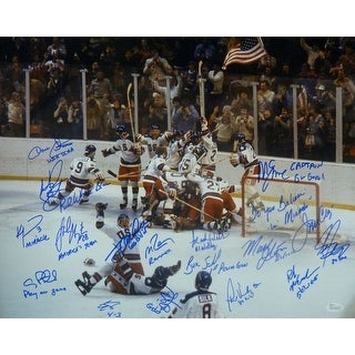 "1980 USA Hockey ""Miracle on Ice"" Autographed Size 16x20 Photo 17 Sigs & inscriptions JSA"