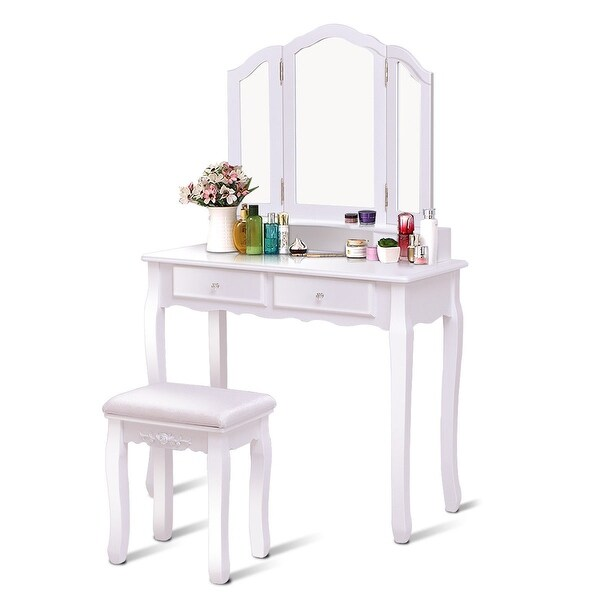 Shop Gymax Bathroom Tri Folding Mirror Vanity Makeup Table ...