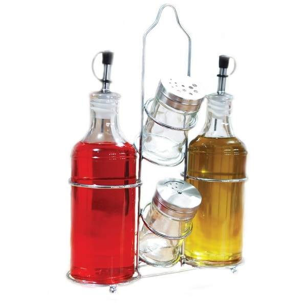 Palais Glassware 5 Piece Oil, Vinegar,Salt and Pepper Cruet Set with a Caddy - 14 Oz. Bottles - 3 Oz. Shakers
