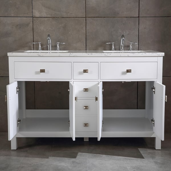 Totti Memphis 60 White Transitional Double Sink Bathroom Vanity W White Carrara Style Man Made Stone Top Overstock 32352433
