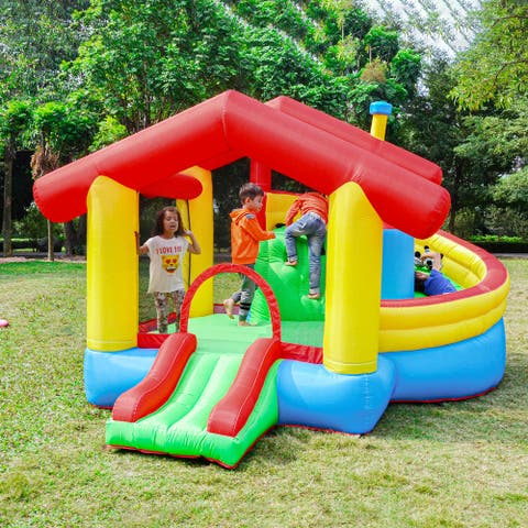 ALEKO Inflatable Playtime Bounce House with Double Slide,Removable Shaded Canopy - Multi-colored