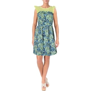 Kensie Womens Juniors Lace Trim Printed Casual Dress