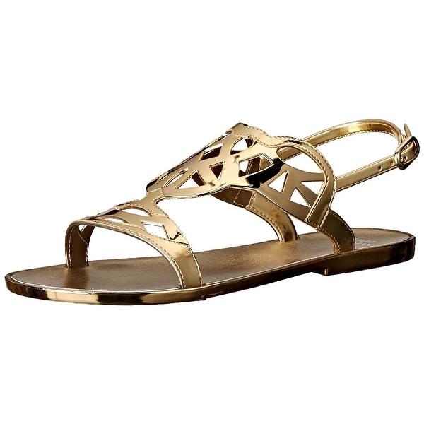 Stuart Weitzman Women's Gelfisher Jelly Sandal, Gold, Size 6.0