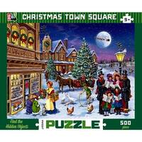 Christmas Town Square 500 Piece Puzzle, Christmas Puzzles by Go Games
