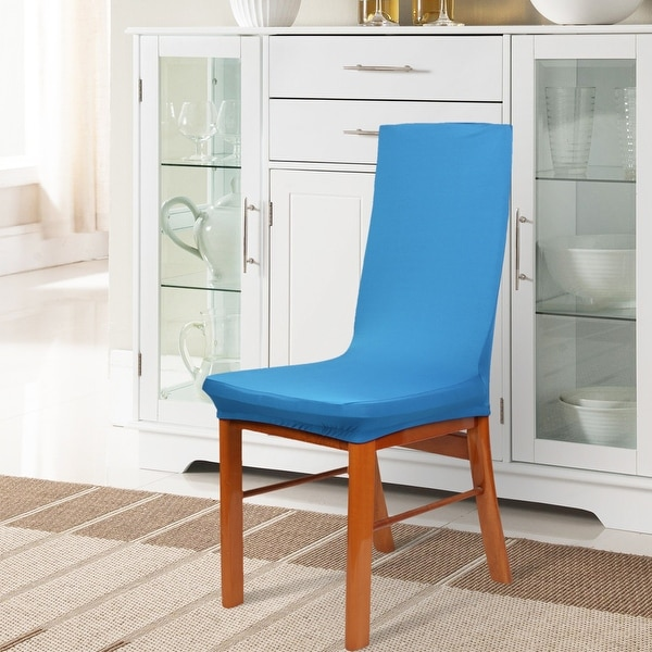 Unique Bargains Light Blue Spandex Elastic Removable Dining Chair Cover
