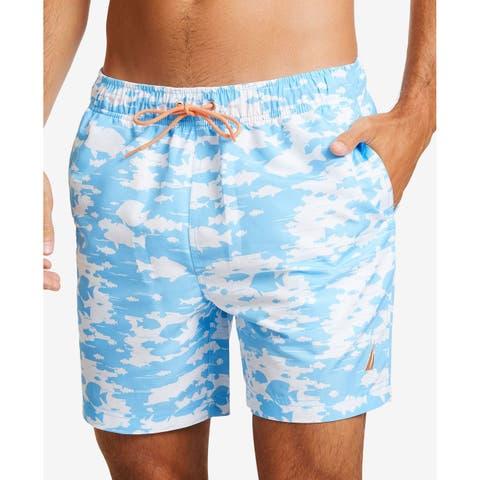 Nautica Mens Swimwear Blue Size 2XL Trunks Drawstring Fish-Print