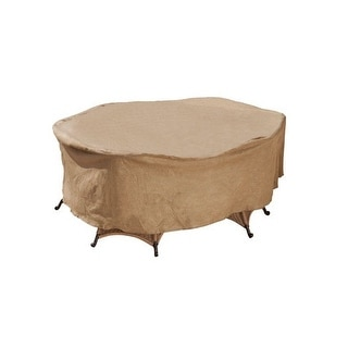 Budge P5A06SF1-N Round Or Square Patio Set Cover, Polyethylene, Sand