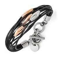 Chisel Stainless Steel Polished Pink IP-plated Black Rubber Bracelet