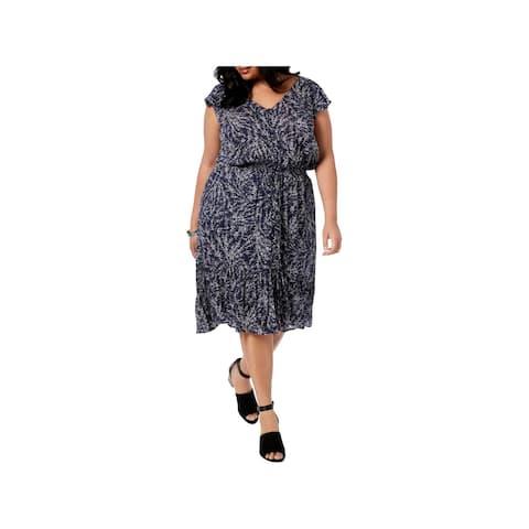 c476393a3dd Lucky Brand Womens Plus Midi Dress Flutter Sleeves Floral Print - 1X