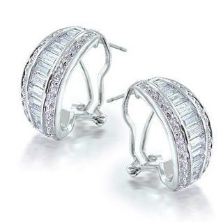 Bling Jewelry Clear CZ Omega Back Bridal Hoop Earrings Rhodium Plated Brass