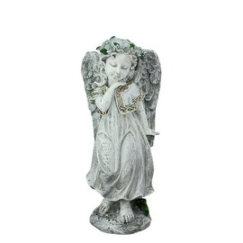 """10.25"""" Heavenly Gardens Distressed Gray and Ivory Angel Girl w/ Floral Crown Outdoor Patio Garden Statue"""