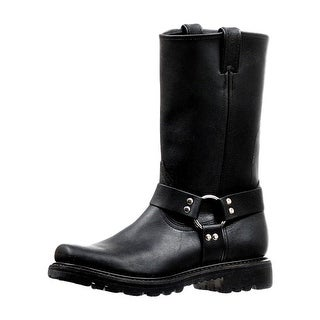 Boulet Motorcycle Boots Mens Broad Square Toe Ring Grasso Black 6333