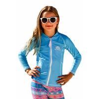 Sun Emporium Girls Aqua White Long Sleeve Print Zip Jacket