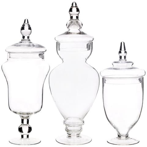 Palais Apothecary Jars Set Of 3 Wedding Candy Buffet Containers Large Clear