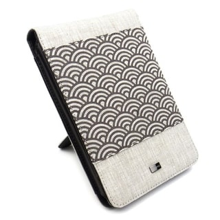 JAVOedge Beige Wave Print Fabric Flip Style Case with Built in Stand for Amazon Kindle Touch Wi-Fi/3G - Biege