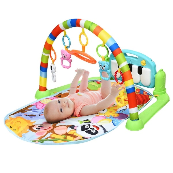 Gymax Baby Kick & Play Piano Gym Activity Play Mat for Sit Lay Down - Multi