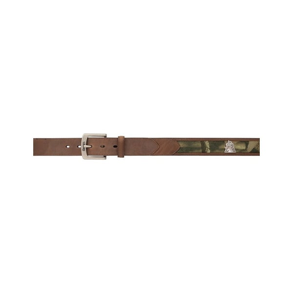 Rocky Western Belt Mens Camo Inlay Distressed Leather Brown