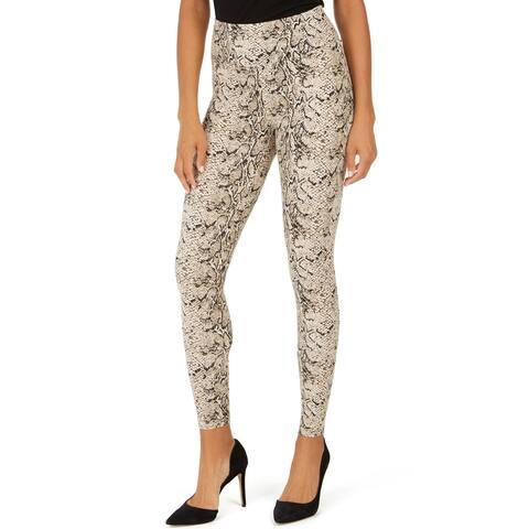 INC Women's Shaping Texture Full-Length High-Rise Leggings, Snakeskin, M