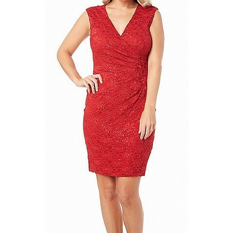Connected Apparel Red Women's Size 14 Sequined Lace Sheath Dress