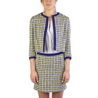 Miu Miu Women's Cotton Blend Tweed Coat Blue - 42