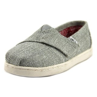 Toms Classic Toddler Round Toe Canvas Silver Loafer