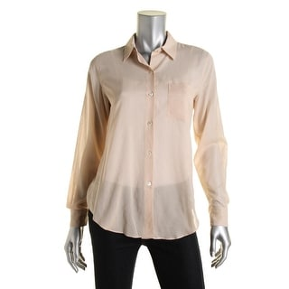 Theory Womens Cotton Sheer Button-Down Top - p