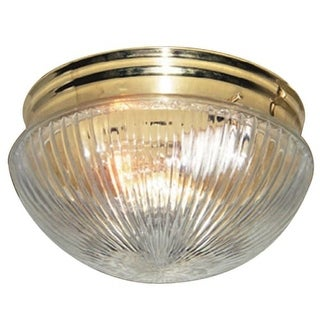 "Woodbridge Lighting 30002 Mushroom 1 Light 8"" Wide Single Flush Mount Ceiling Fixture with Ribbed Glass Bowl Shade"