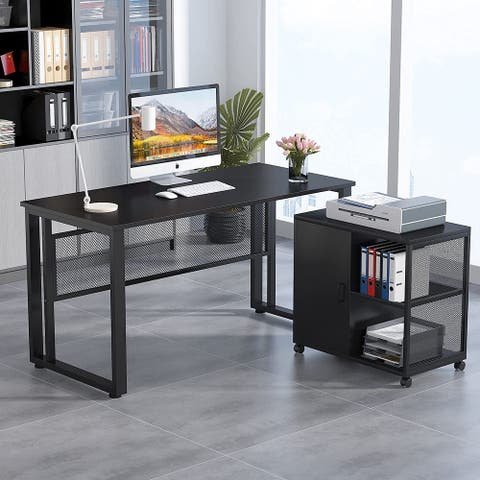 """55""""L-Shaped Computer Desk with File Cabinet,Study Writing Office Desk"""