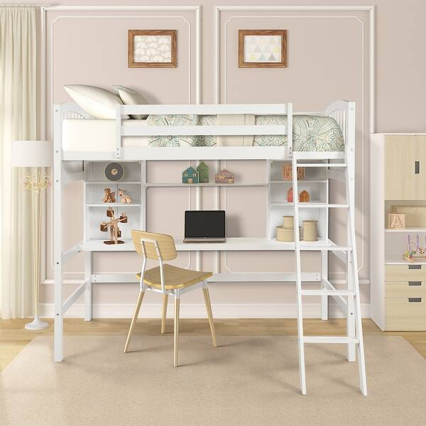 Shop Twin Size Loft Bed With Storage Shelves Desk And Ladder On Sale Overstock 32019533 Espresso