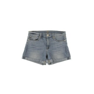 7 For All Mankind Womens Denim Shorts Cuffed Light Wash - 27