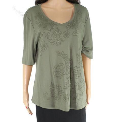Karen Scott Women's Top Olive Green XL V neck Floral Embroidered Tee