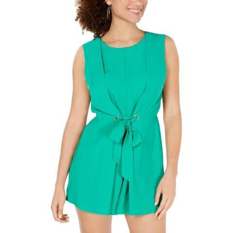 Be Bop Womens Juniors Romper Grommet Short - Spring Green